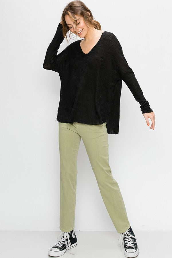 Black Thermal V Neck Long Sleeve Top