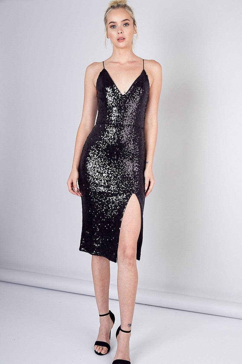 See You Sequin Black Midi Dress with Side Slit