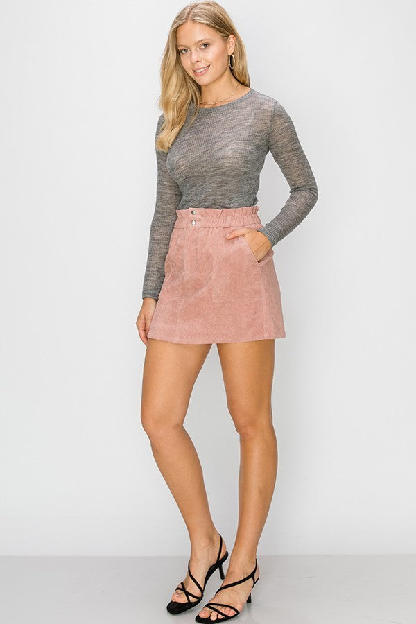 Mauve Over Corduroy Mini Skirt with Elastic Waist