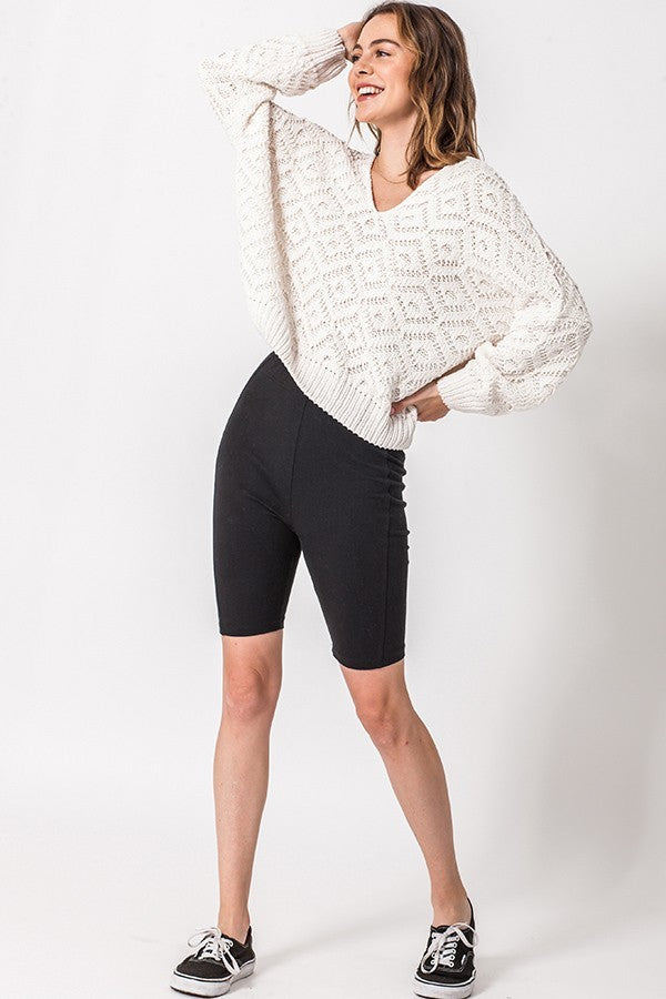 Textured Cream Knit V Neck Sweater