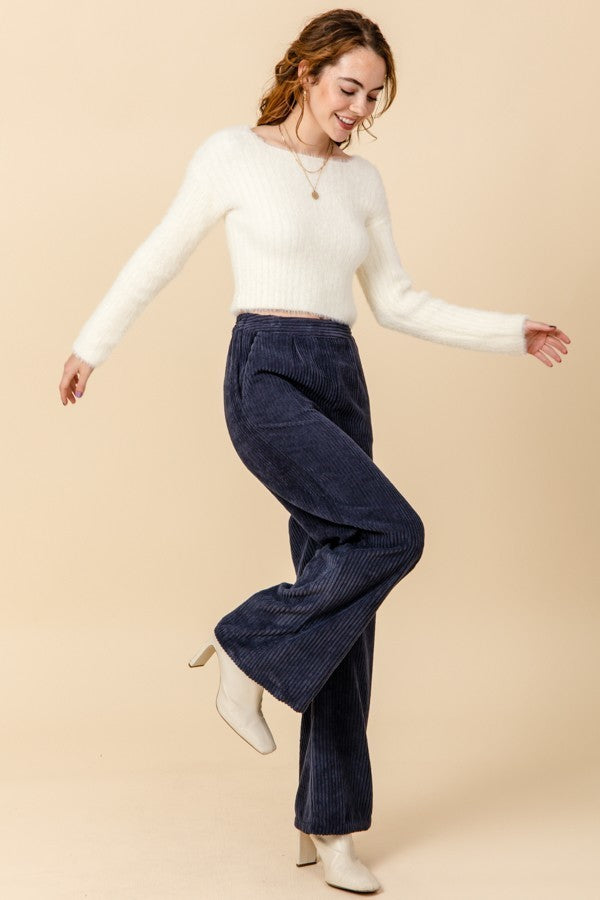 Come On Corduroy Navy High Waisted Wide Leg Pants