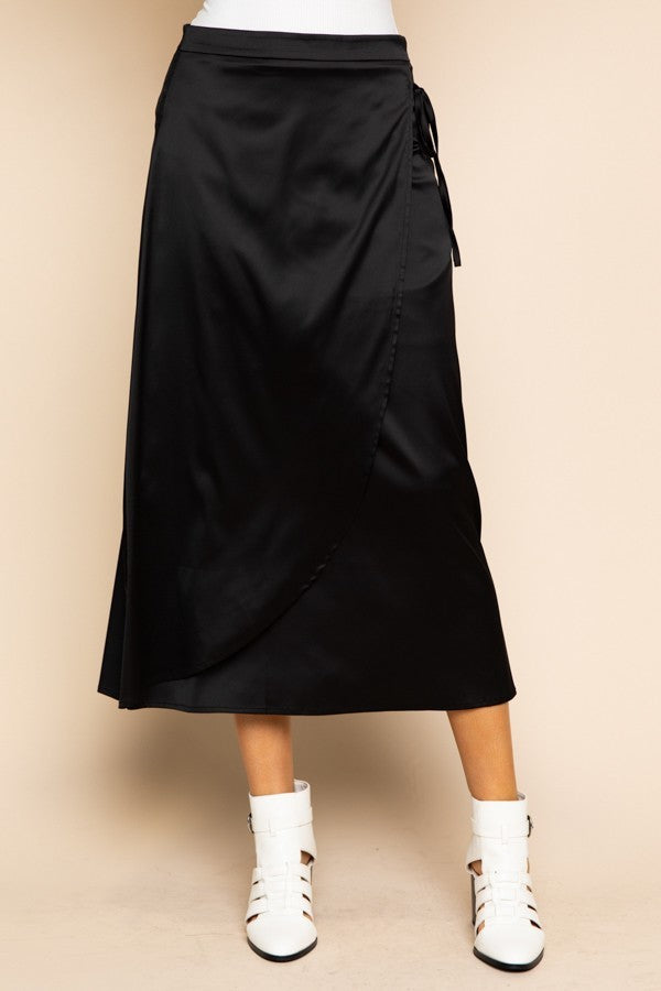 Sleek Havoc Black Silk Faux Wrap Midi Skirt