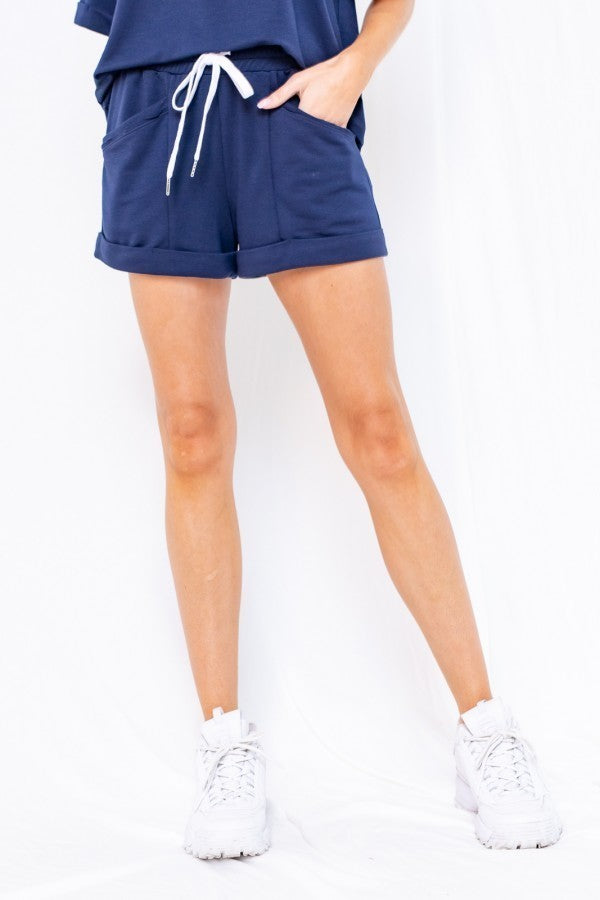 Let's Roll Navy Drawstring Lounge Shorts with Rolled Hem