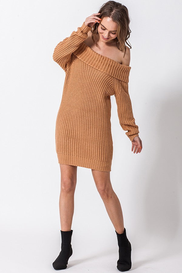 Better Off The Shoulder Camel Sweater Dress