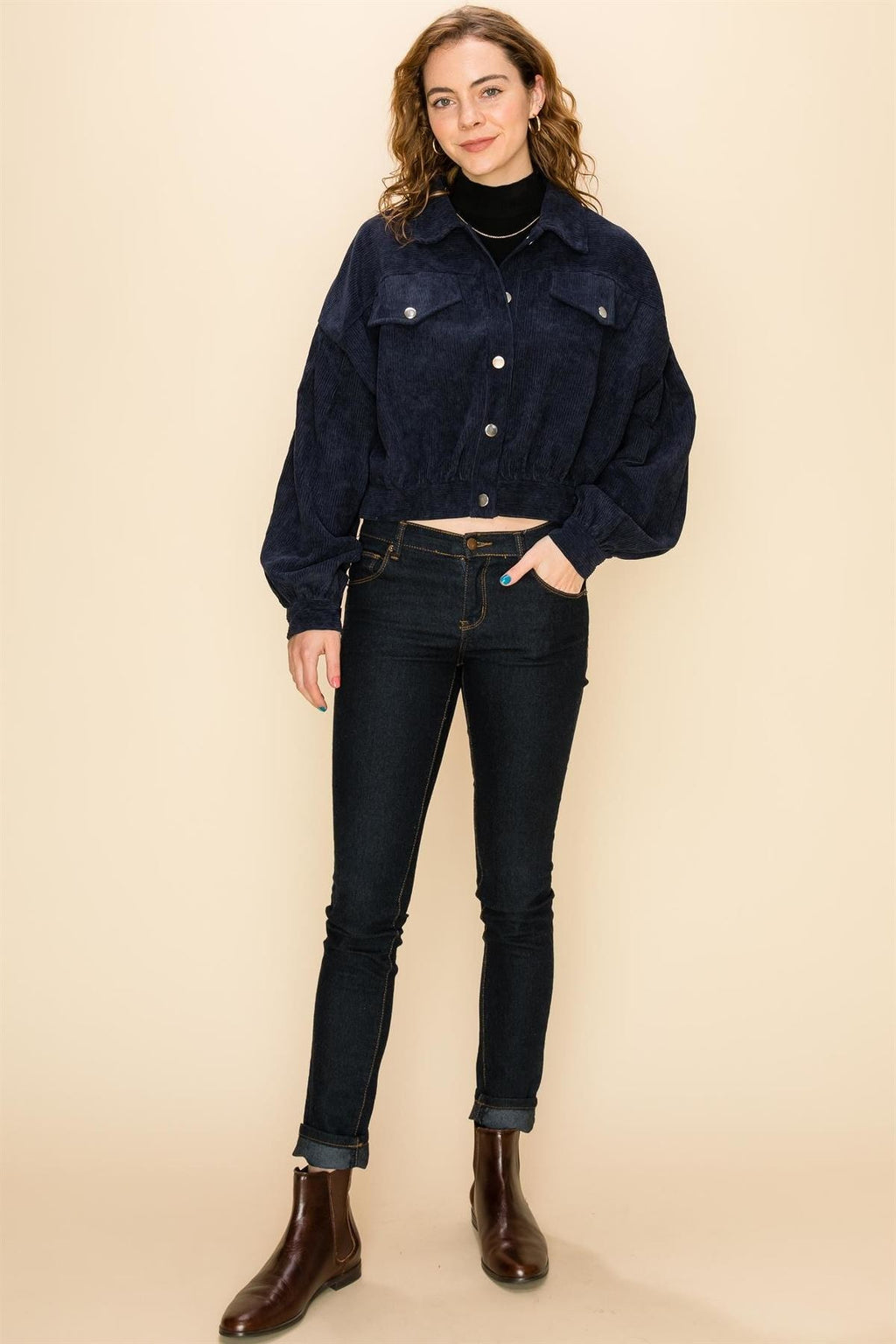 Let's Get Button Down Navy Corduroy Button Cropped Jacket