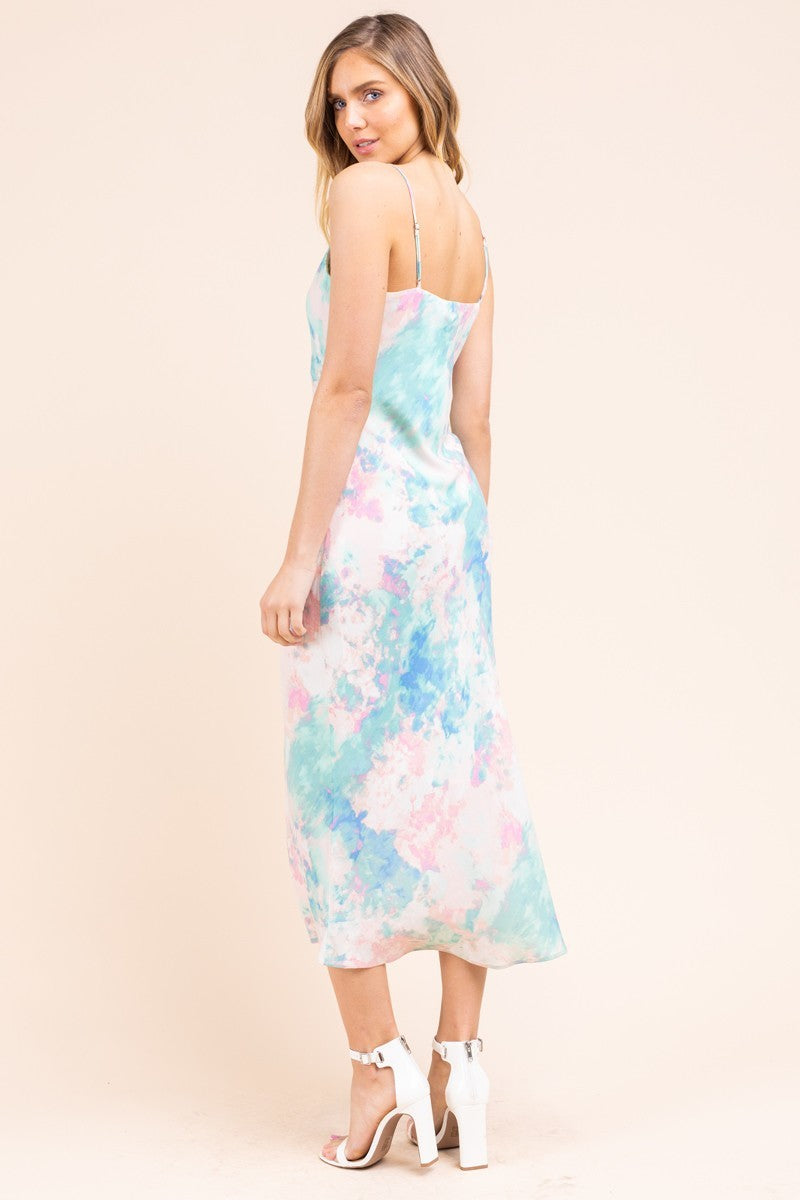 Right on Tie Dye Blue & Pink Silk V Neck Midi Dress