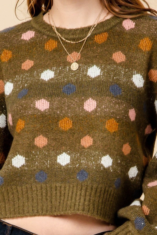 Crop Me If You Can Olive Green Dot Print Cropped Sweater