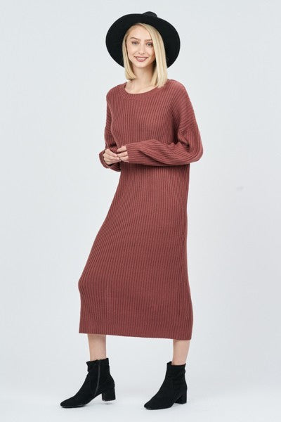 Mauve Oversized Ribbed Sweater Dress with Deep V Back