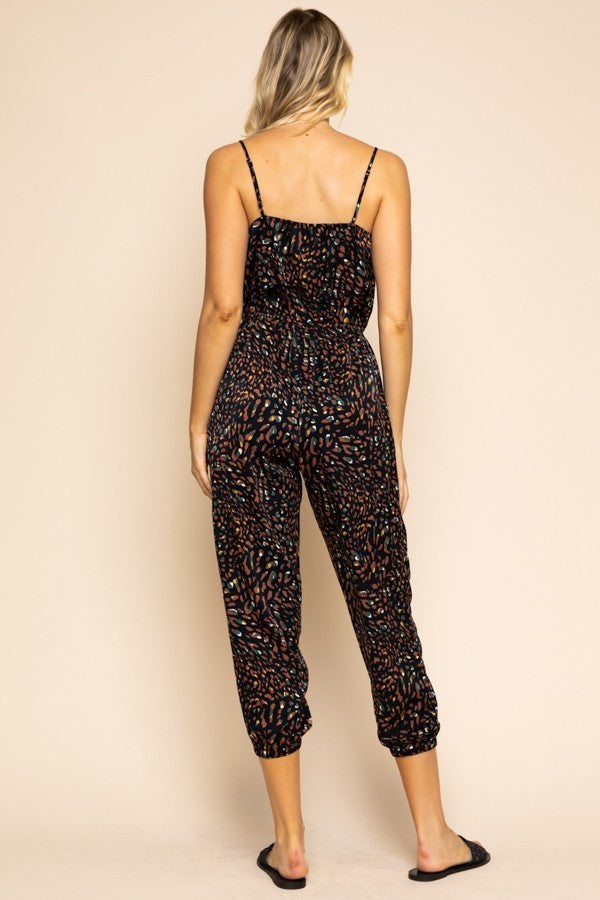 Growl Power Black & Brown Cheetah Print Jumpsuit with Jogger Pants