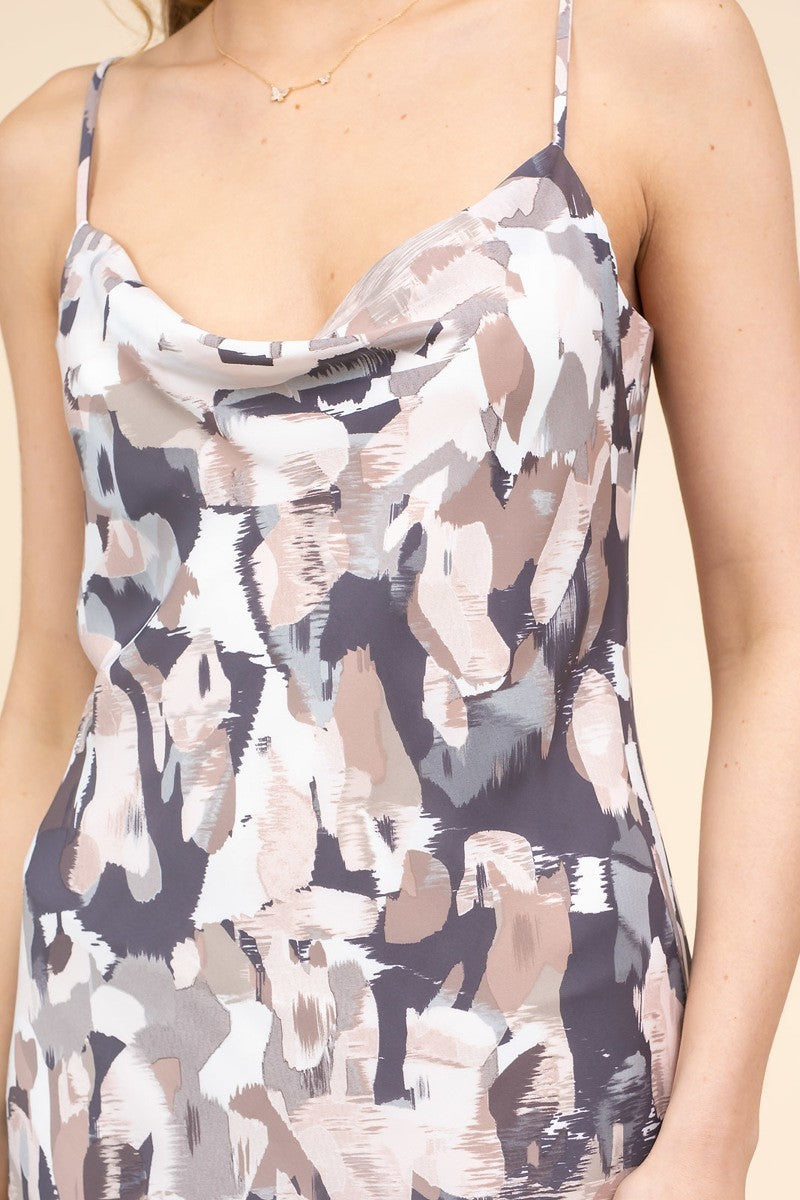 Cowl-ing Your Name Grey & Tan Abstract Print Midi Dress