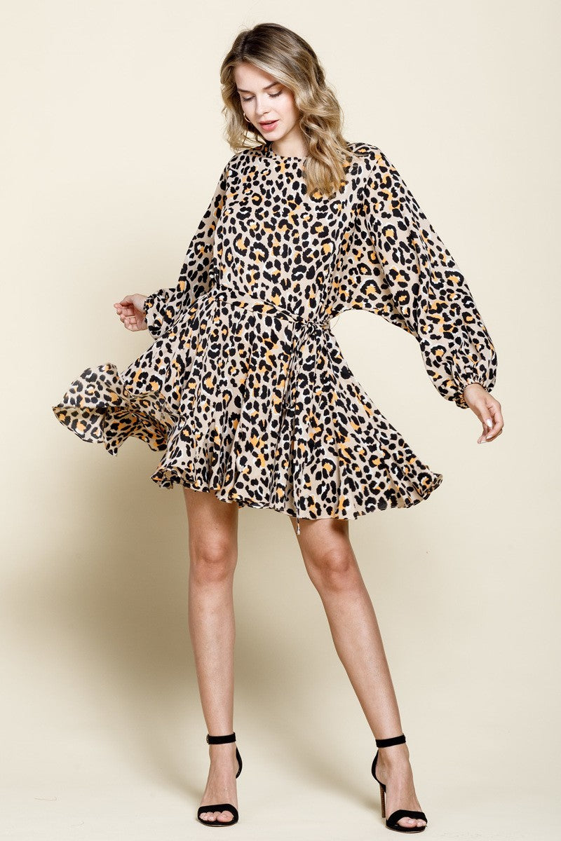 Feline Myself Tan Cheetah Print Dress with Tie Waist