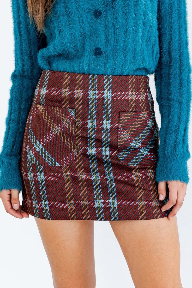 Check Me Out Brown & Teal Plaid Mini Skirt with Front Pockets