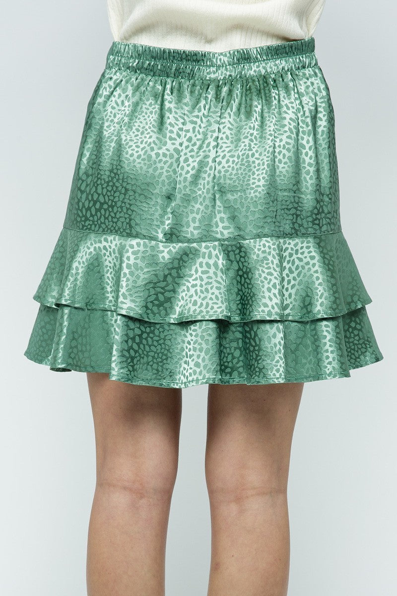 Cheetah Gal Green Silk Faux Wrap Tiered Ruffle Skirt