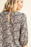 Taupe Animal Print Quarter Sleeve Top