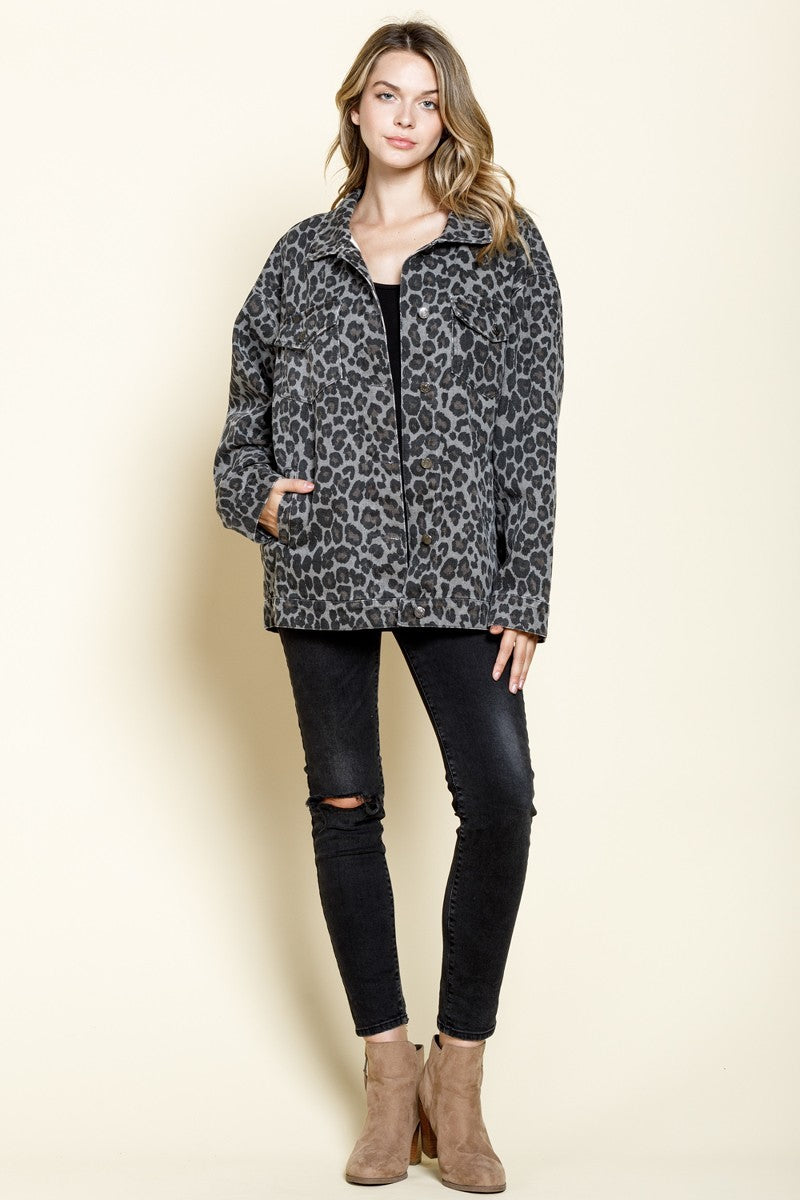 In The Wild Grey Cheetah Oversized Denim Jacket