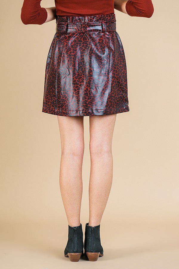 Wine Me Down Cheetah High Waisted Faux Leather Skirt