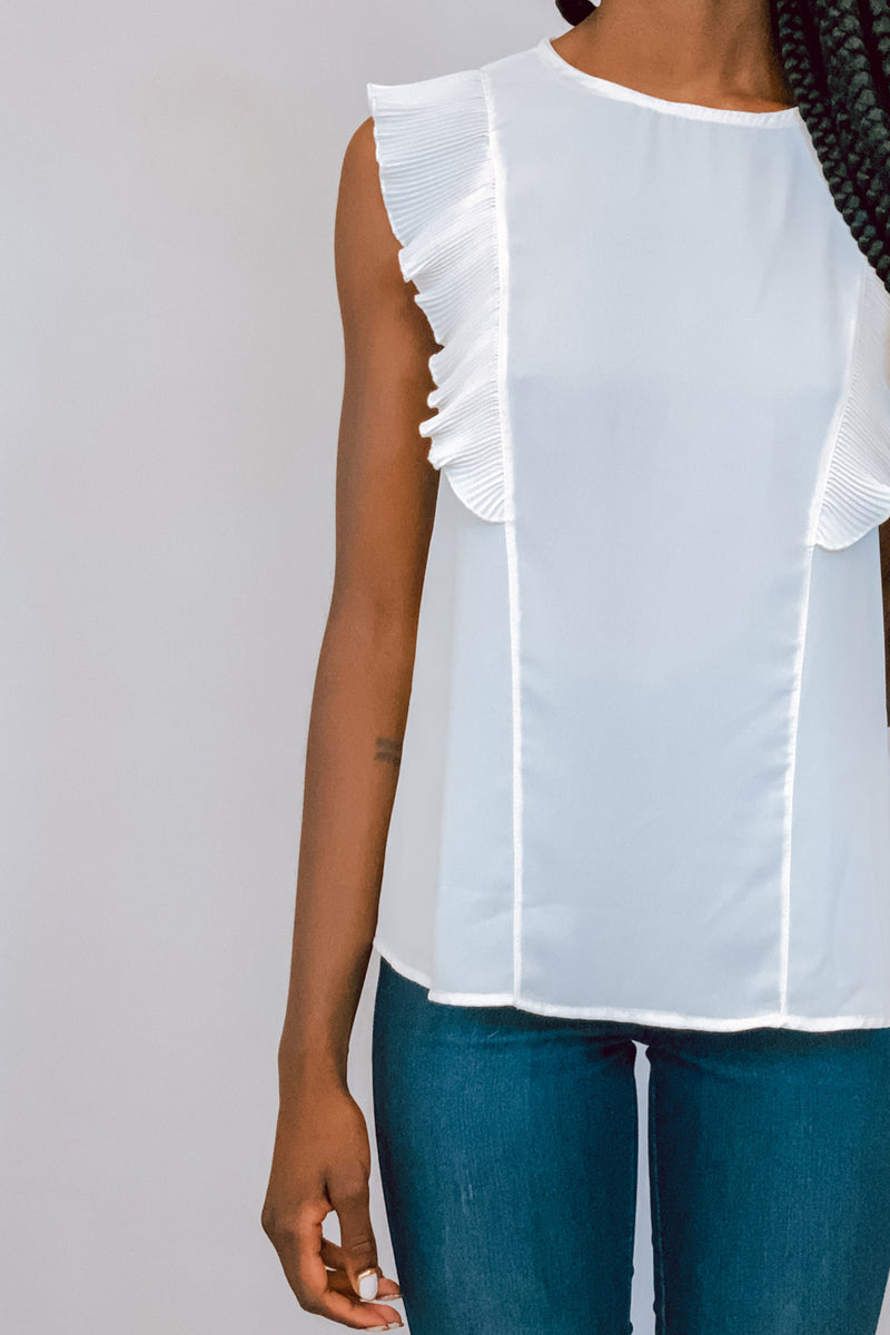 Cream Basic Top with Pleated Flutter Sleeves