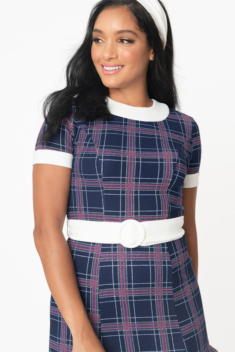 Navy Blue Plaid Belted Show Stealer Dress by Smak Parlour