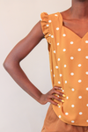 Camel Polka Dot Sweetheart Neckline with Ruffle Sleeve Top