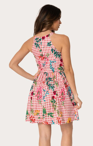 High Arrival Pink Gingham + Floral Halter Dress by Smak Parlour