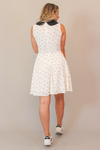 Two Faced White with Black Collar Sleeveless Dress