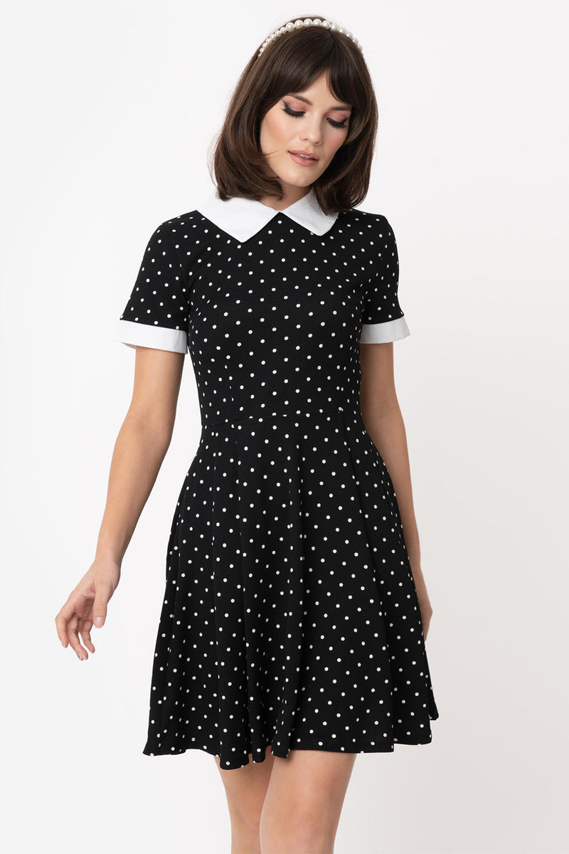 Black with White Pin Dot Babe Revolution Dress By Smak Parlour