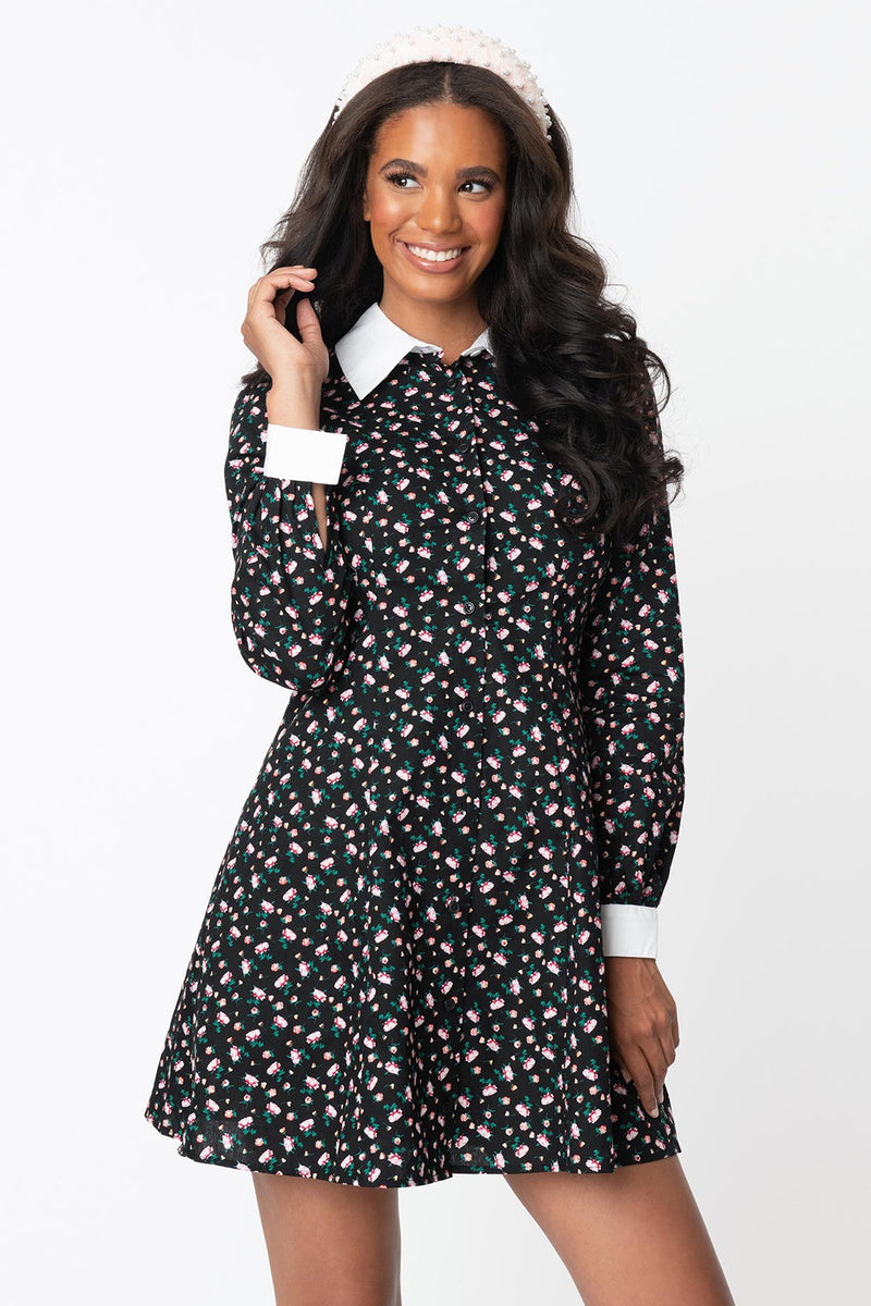Black Floral Powerfully Pretty Dress By Smak Parlour