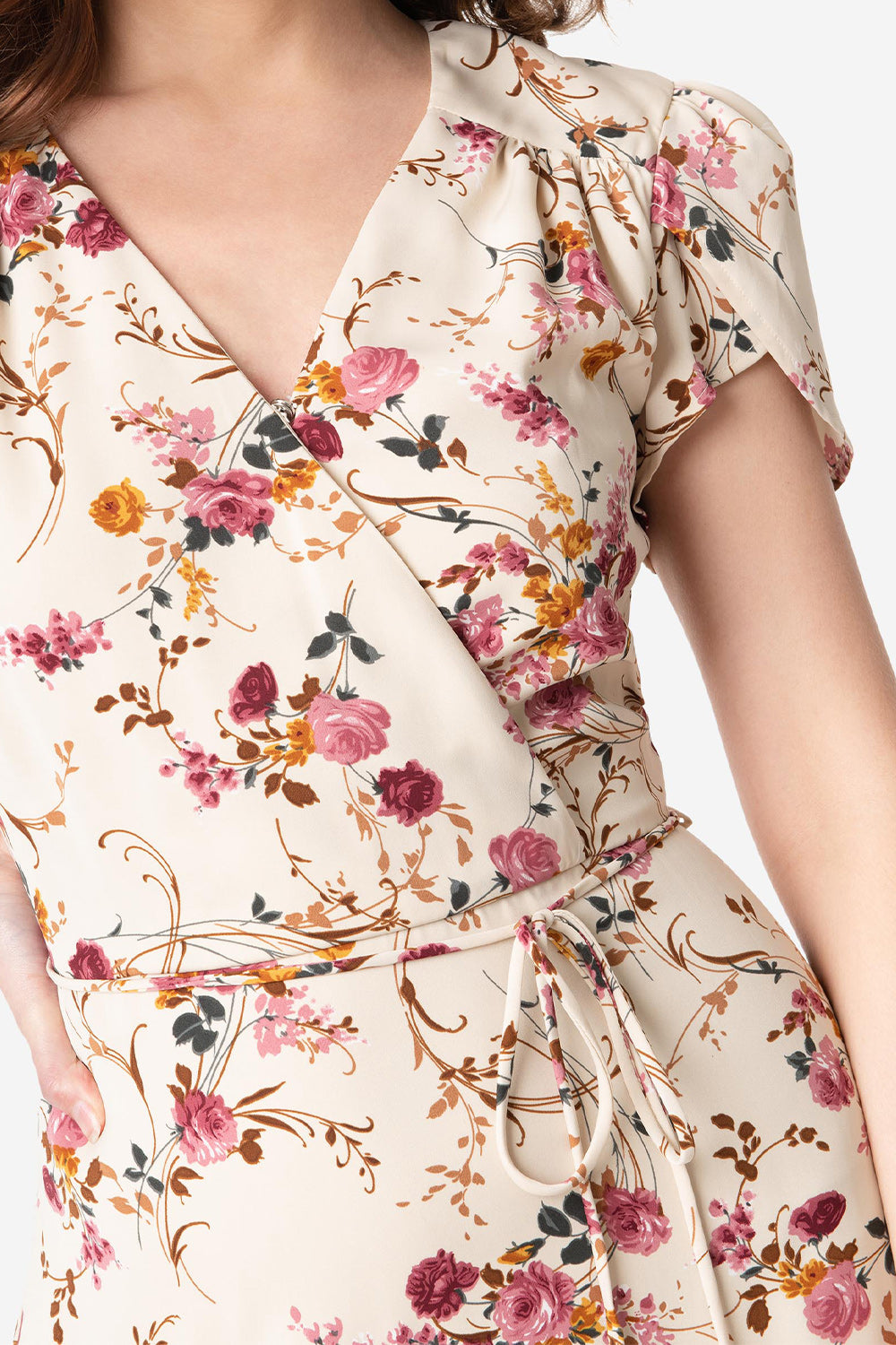 Beige & Pink Floral Print Hide & Go Chic Midi Dress by Smak Parlour