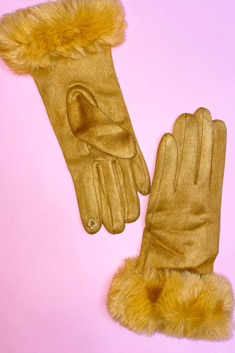 Faux Suede Gloves with Fur Cuff