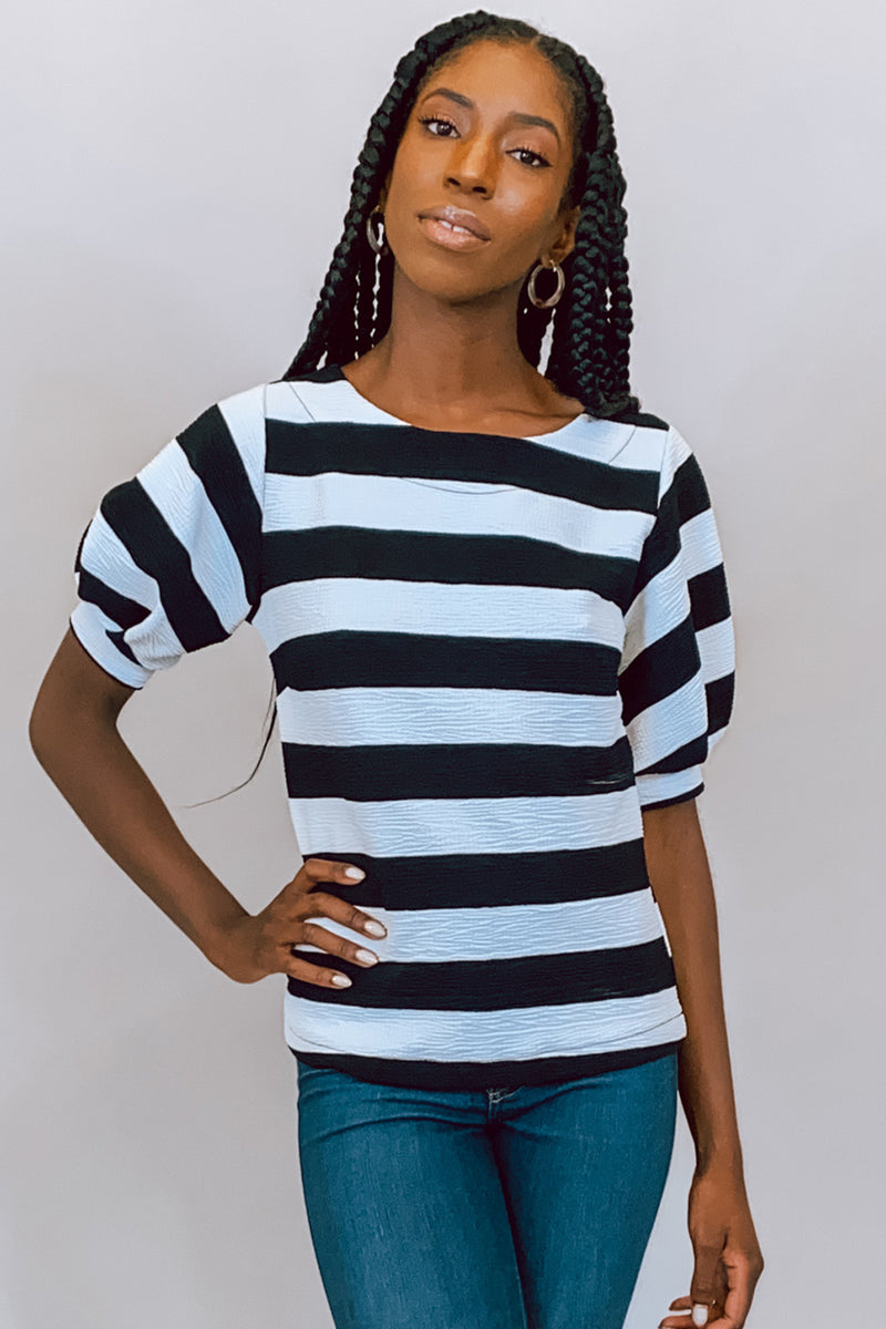 Strut Your Puff-ed Sleeve Black & White Striped Top