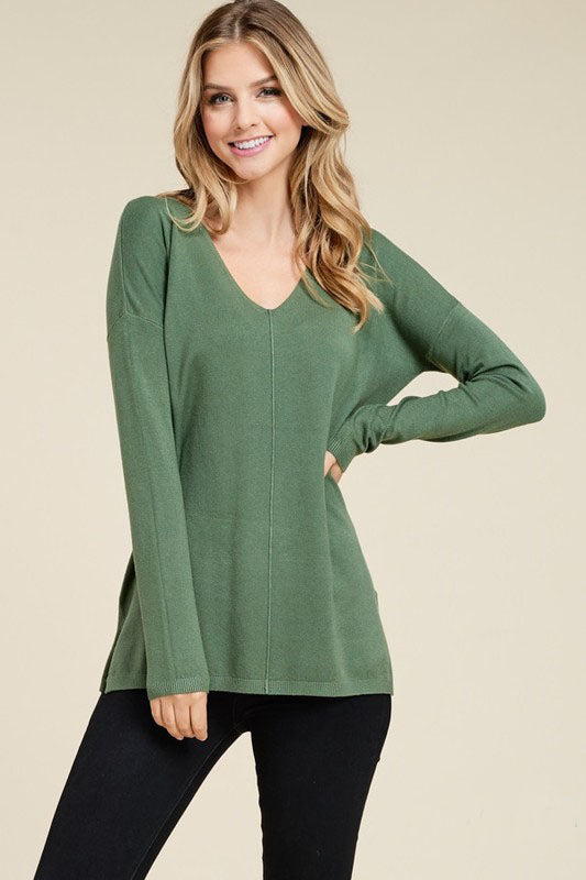 Simple as That Moss Green V Neck Sweater with Side Slits