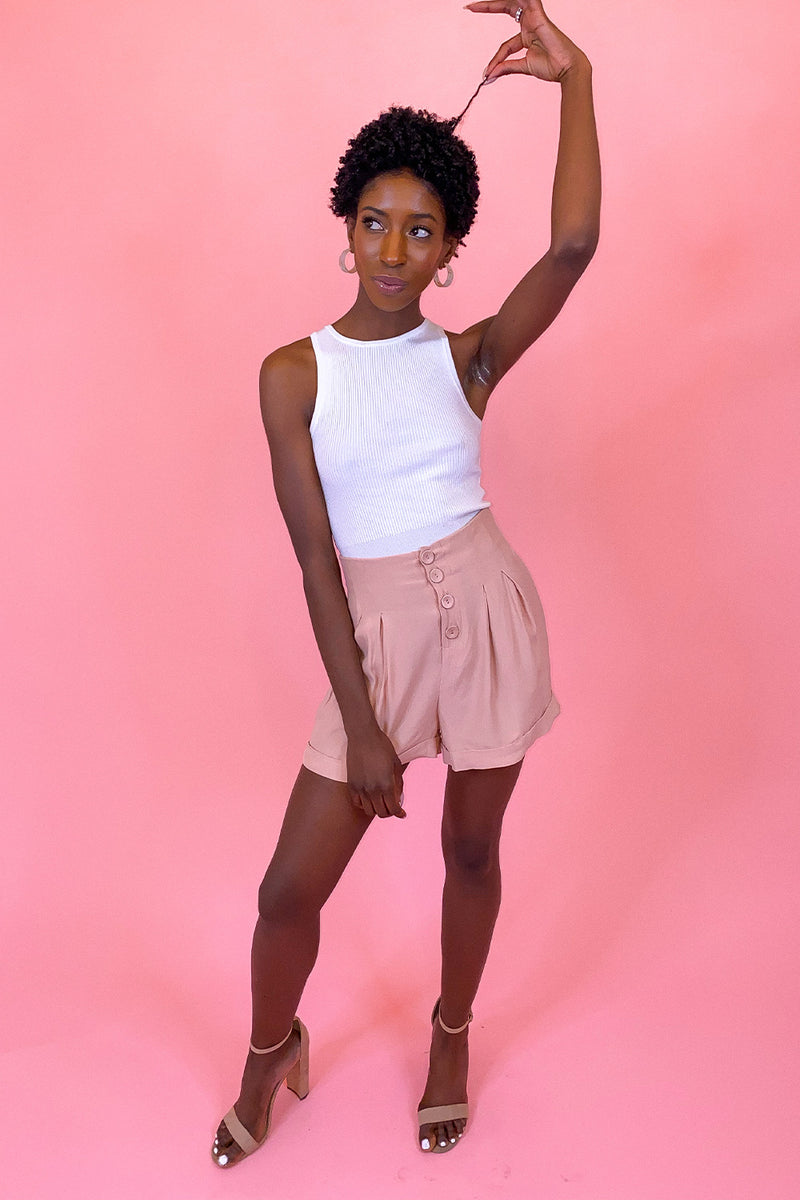 Pale Pink Pleated Cuffed Button Up Shorts