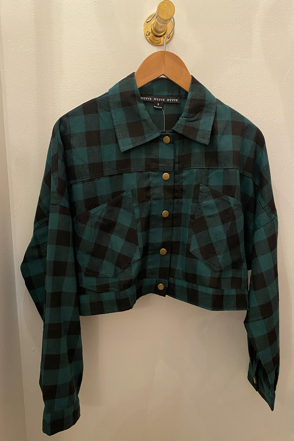 Check Back Hunter Green Cropped Flannel Top with Button Back Detailing