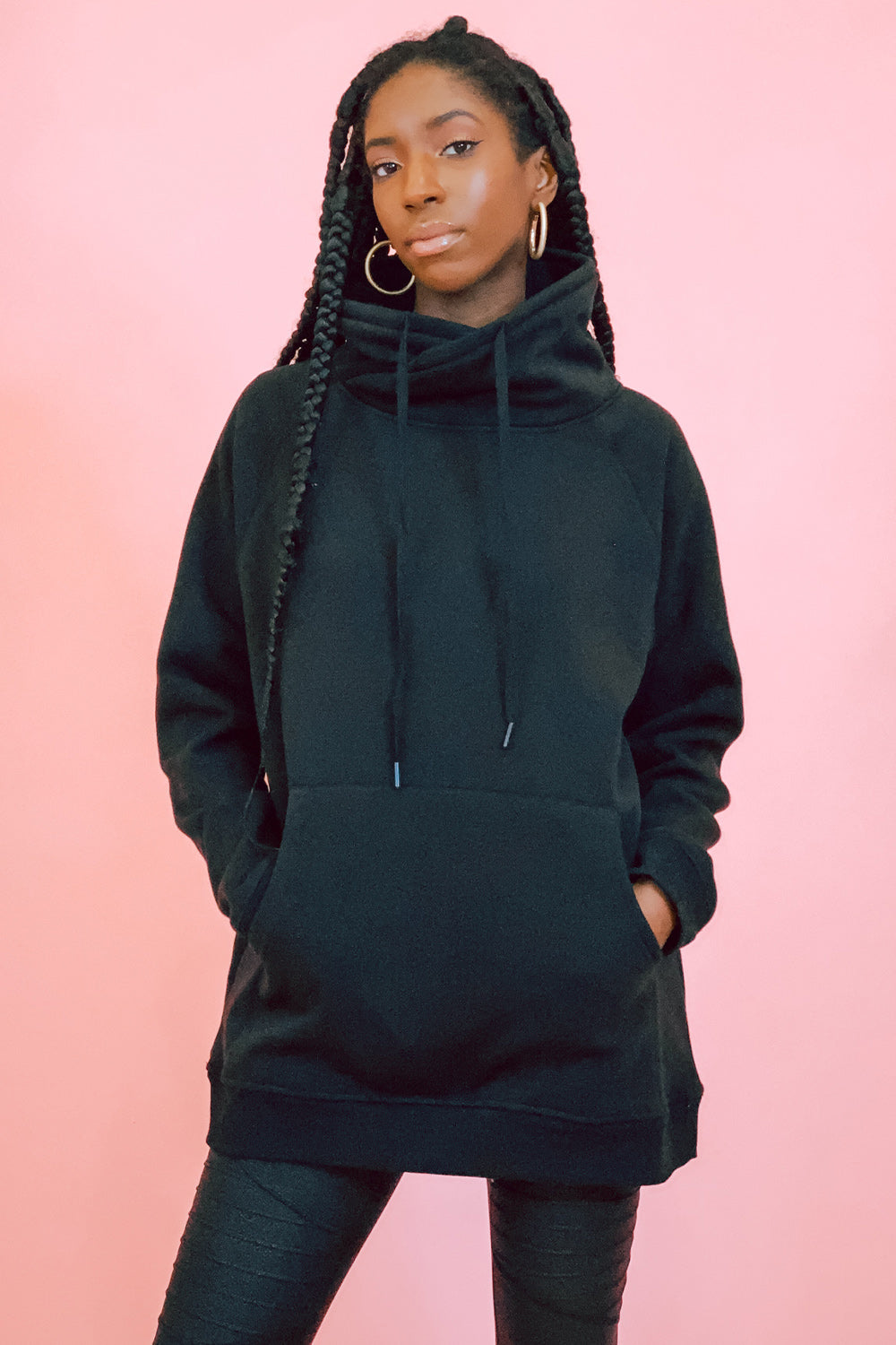 All Black Cowl Neck Oversized Hoodie
