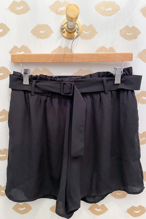 Better Buckle In Black Belted Shorts with Elastic Waist