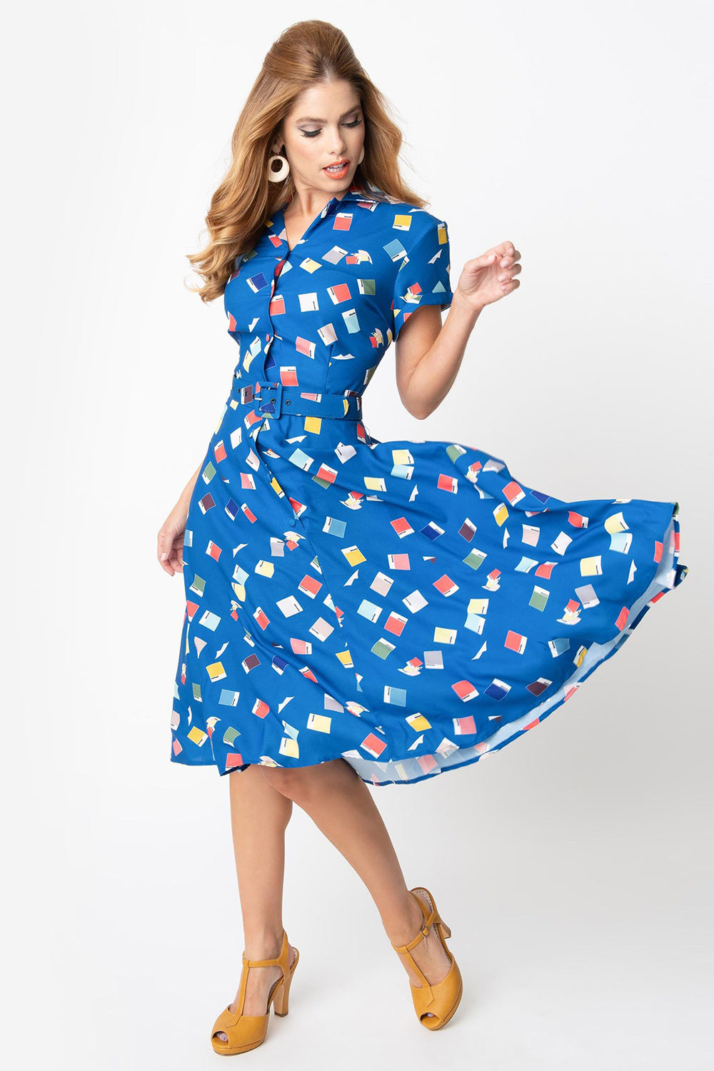 "Pantone ""Classic Blue"" Color Chips Print Short Sleeve Fit & Flare Dress"
