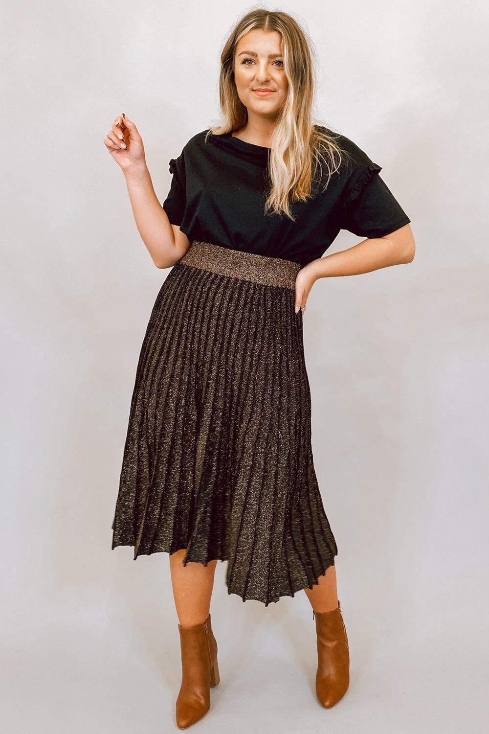 Black & Bronze Metallic Pleated Midi Skirt