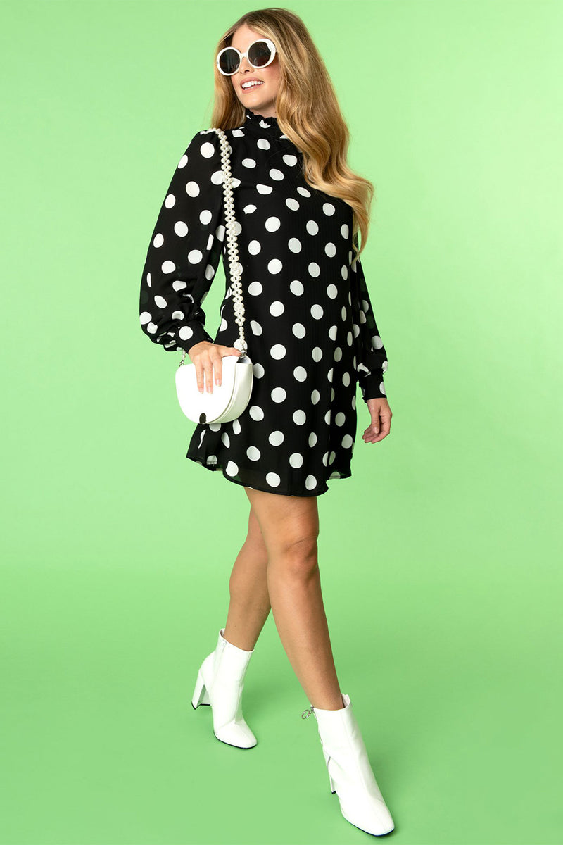 Black & White Polka Dot Girl Talk Long Sleeve Shift Dress by Smak Parlour