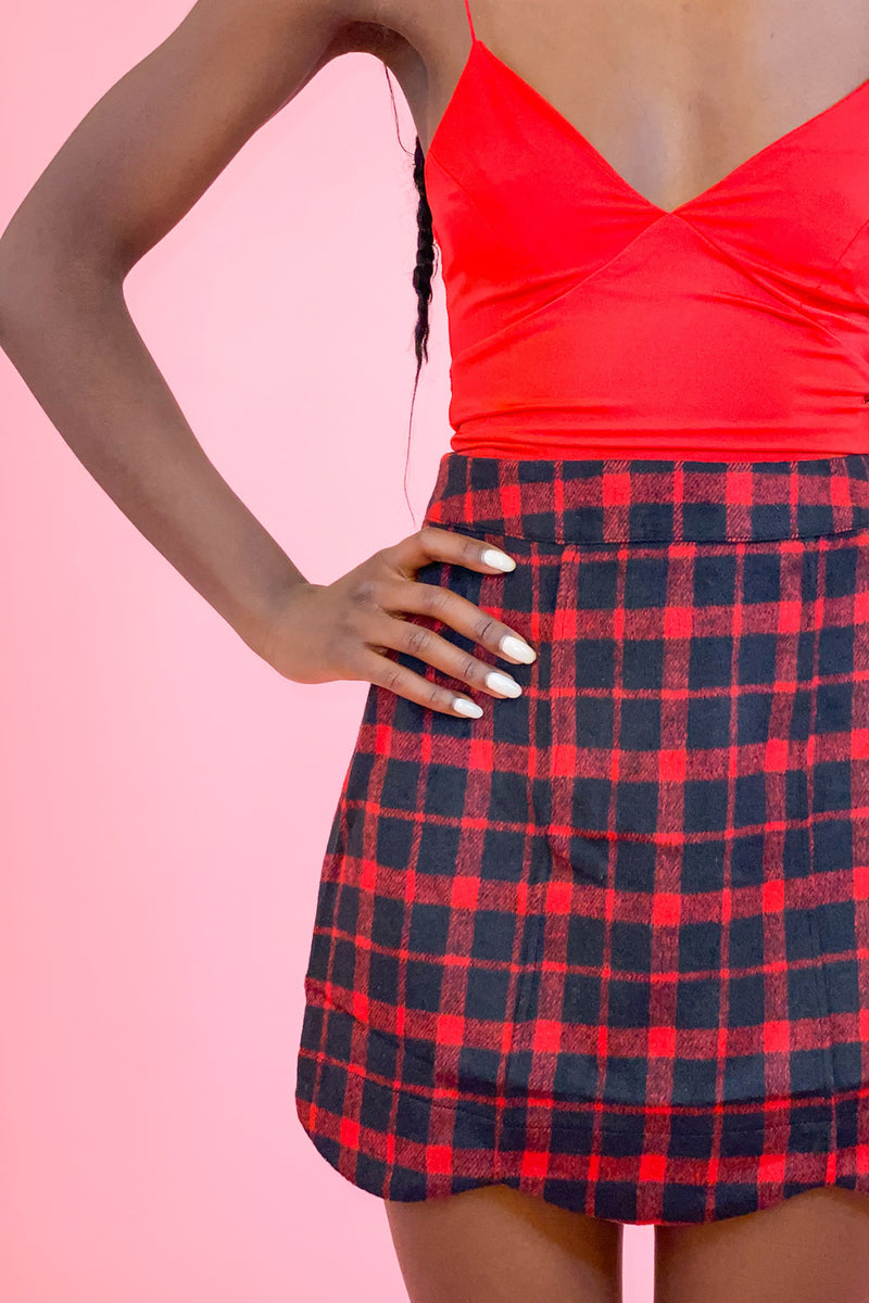 School of Rock Red Plaid Skirt with Scalloped Hem