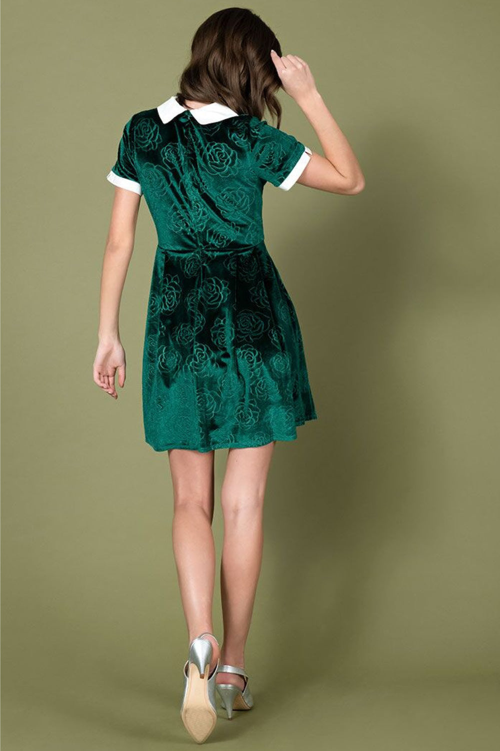 Green Velvet Floral Embossed Babe Revolution Fit & Flare Dress by Smak Parlour