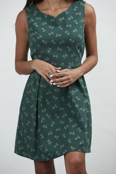 Stay In Your Lane Green Bike Print Dress