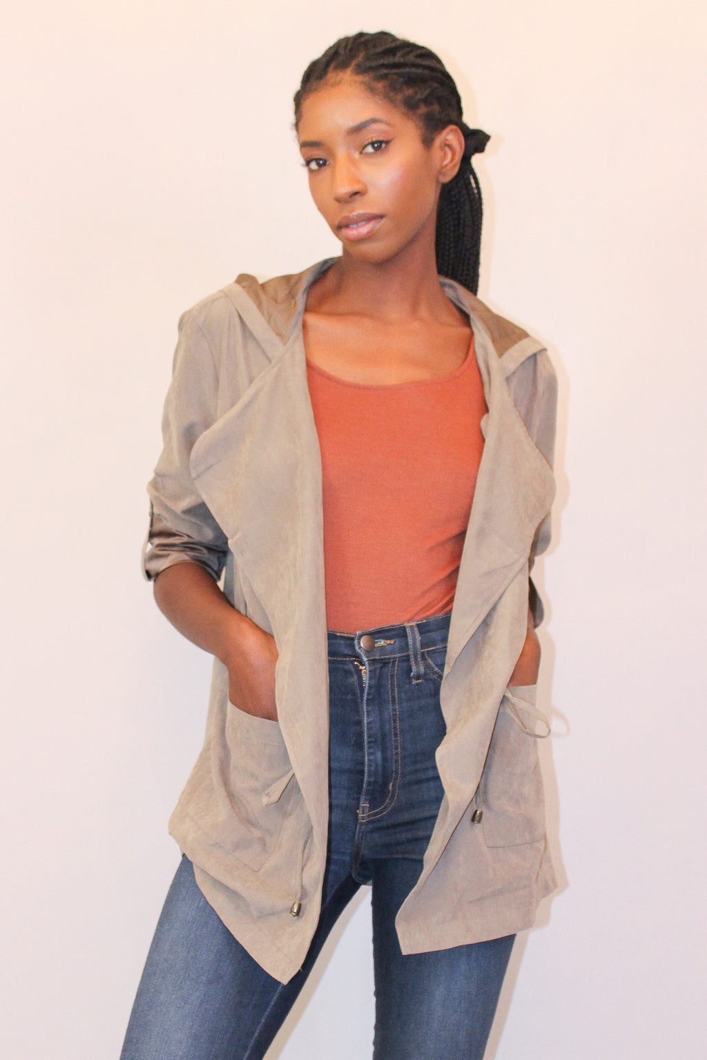 Olive Lightweight Suede Jacket