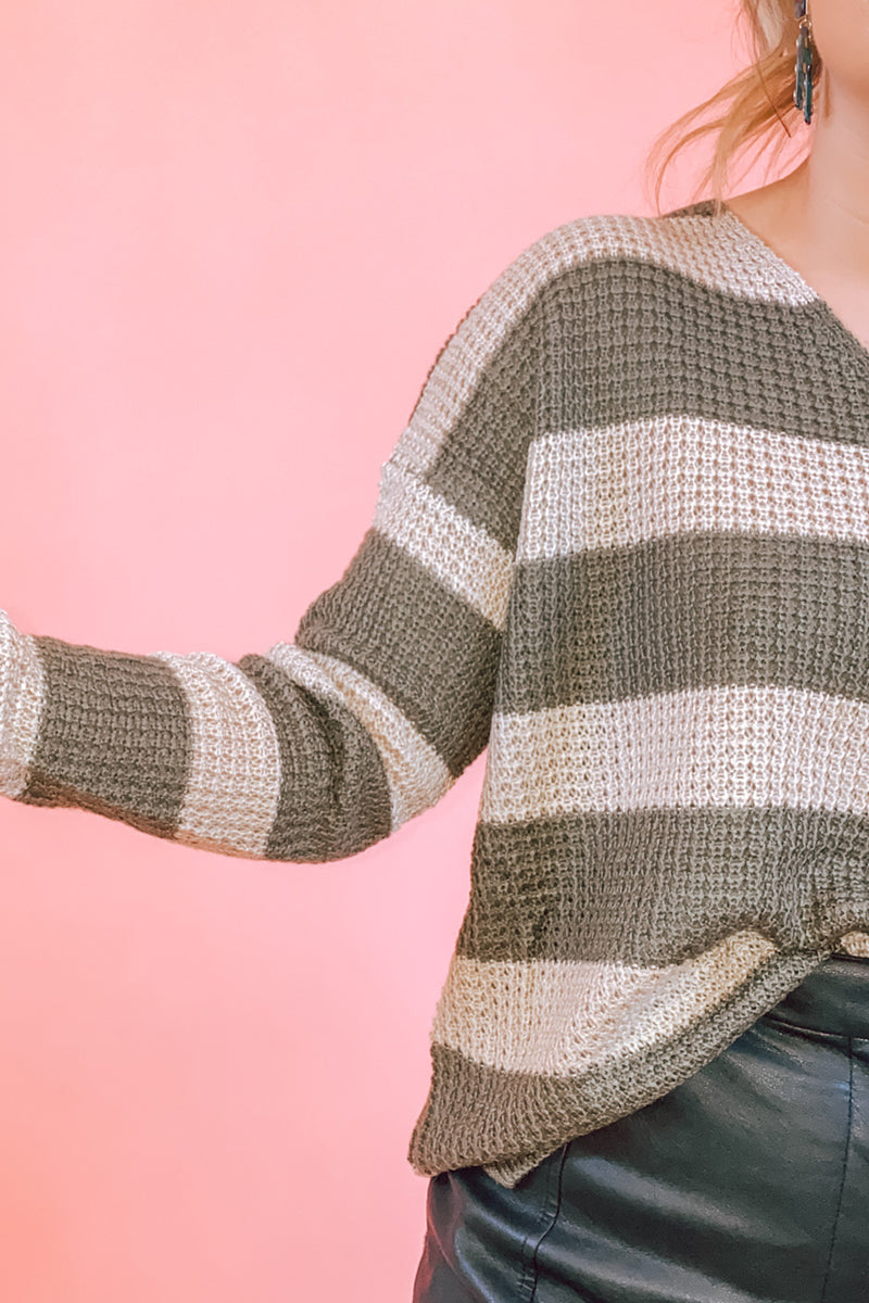 Olive & Taupe Striped V Neck Knit Sweater