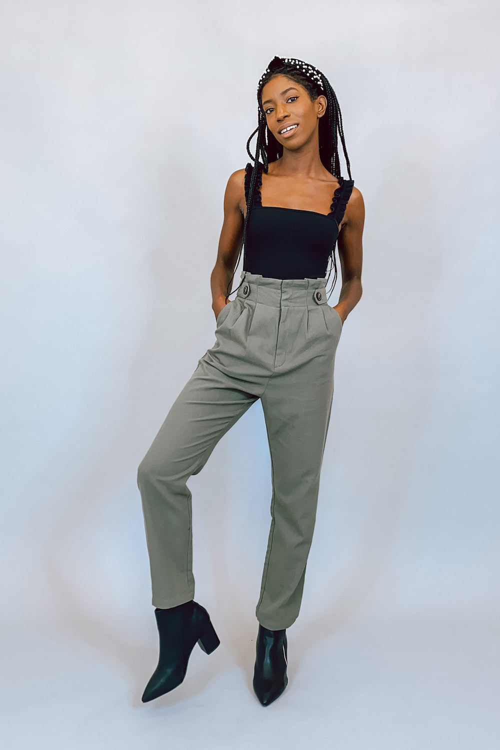 Olive High Waisted Paper Bag Trouser Pant with Buttons
