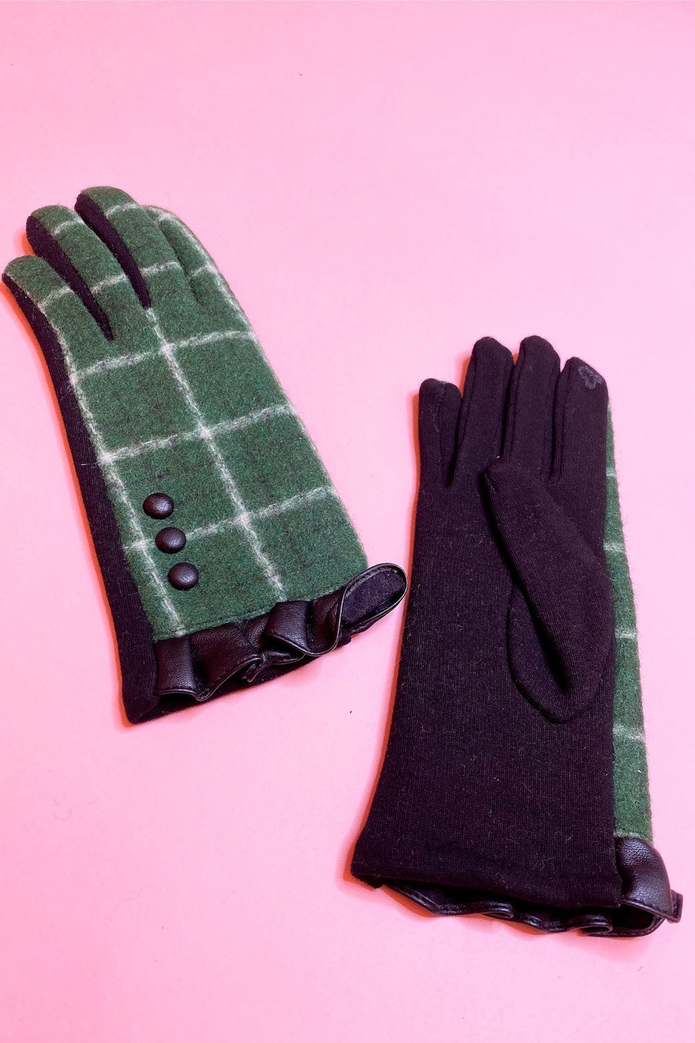 Buffalo Plaid Gloves with Ruffle Cuff