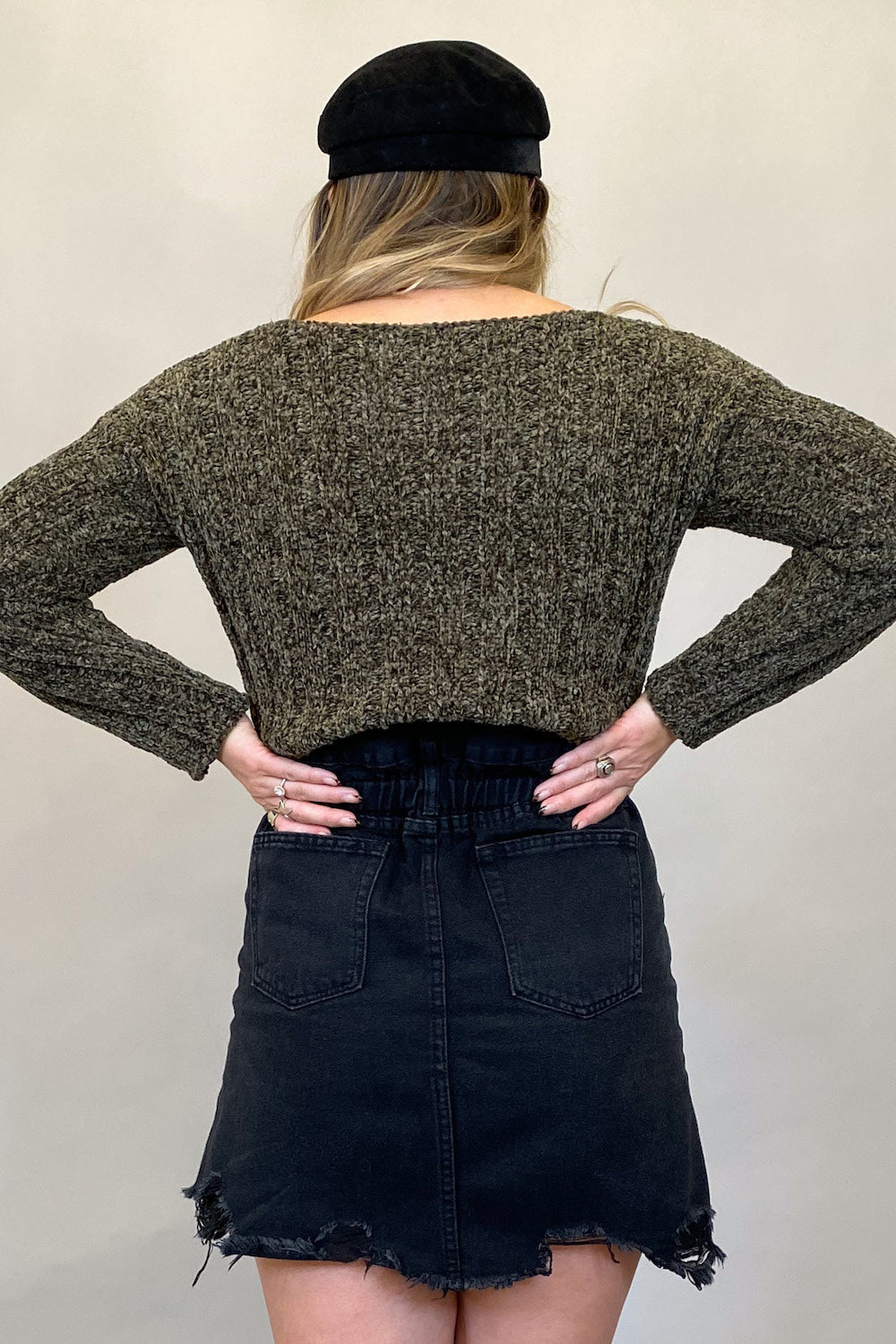 Olive Chenille Cropped Sweater