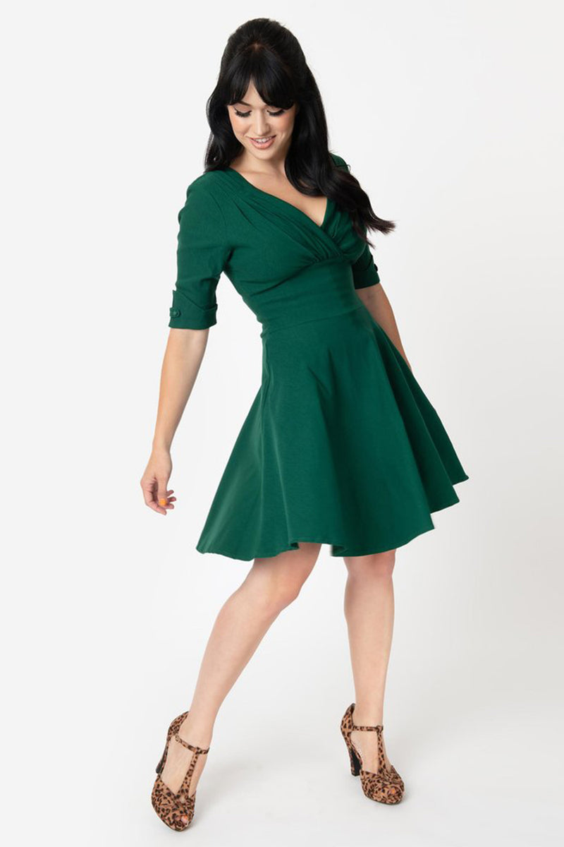 Swing It Over Here Green Quarter Sleeve Fit & Flare Dress