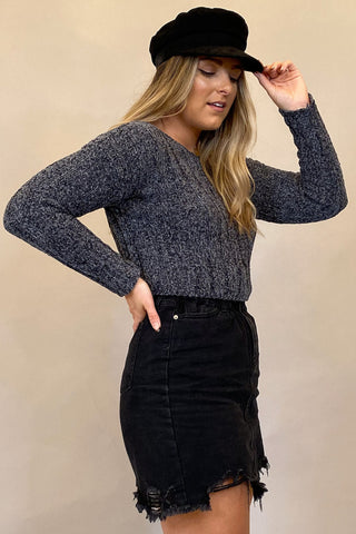 Grey Long Sleeve Simple Tunic Top