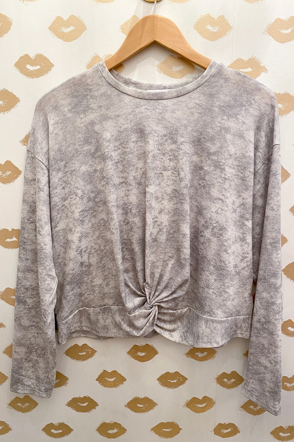 Grey Tie Dye Long Sleeve Twist Front Top
