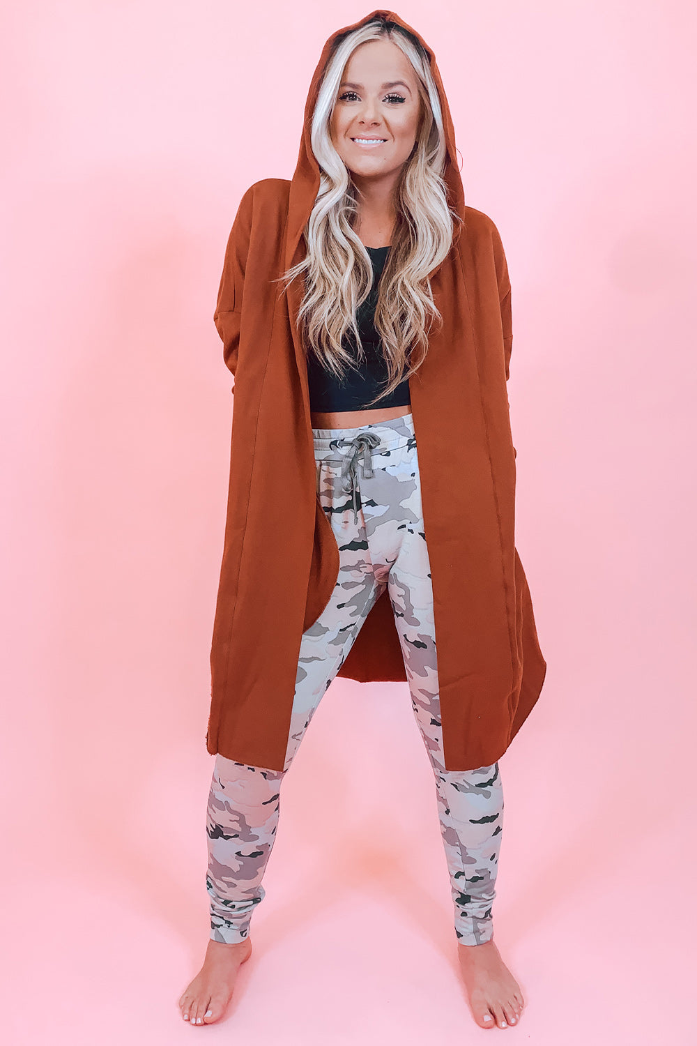 Rust Long Open Cardigan with Hood